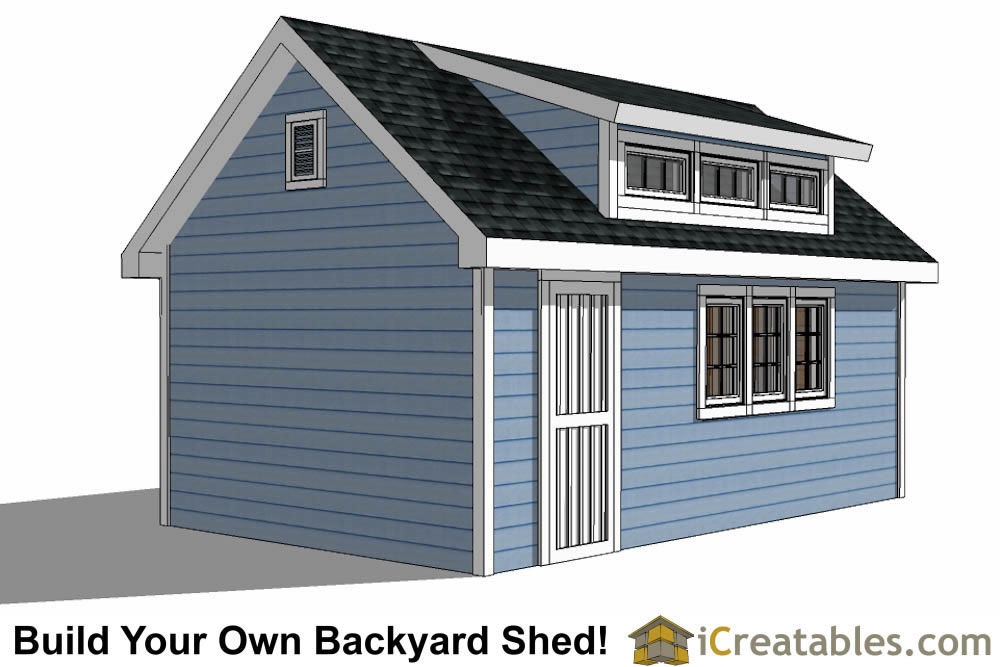 12x20 shed with dormer roof plans right