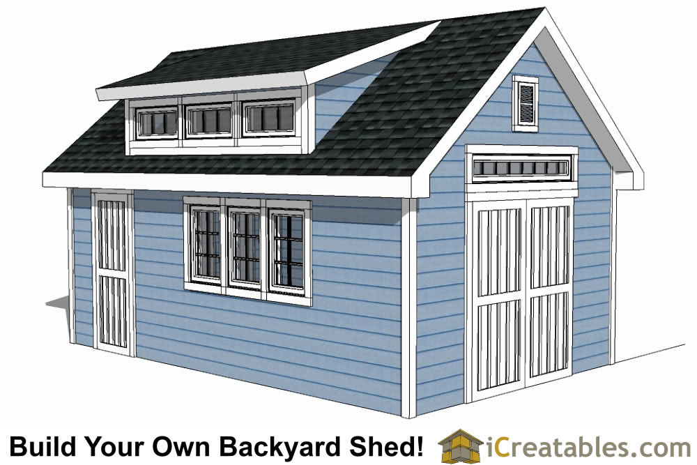 12x20 shed with dormer roof plans