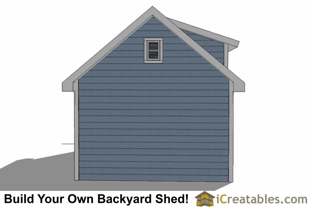 12x20 shed with dormer roof plans rear elevation