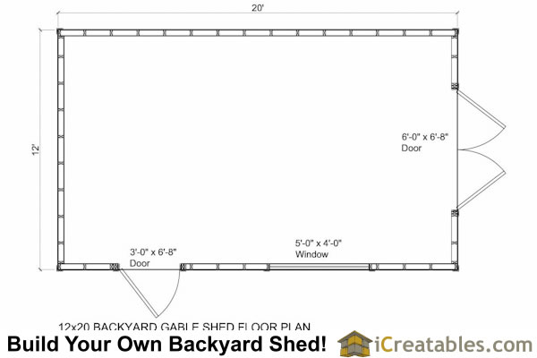 12x20 backyard storage shed floor plan