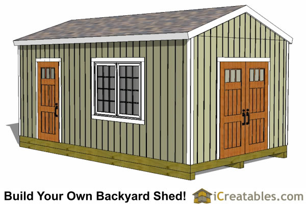 16x20 large backyard shed plans front elevation