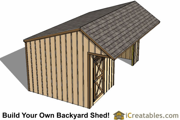 Download 3 sided run in shed plans diy sheds for Three sided shed plans