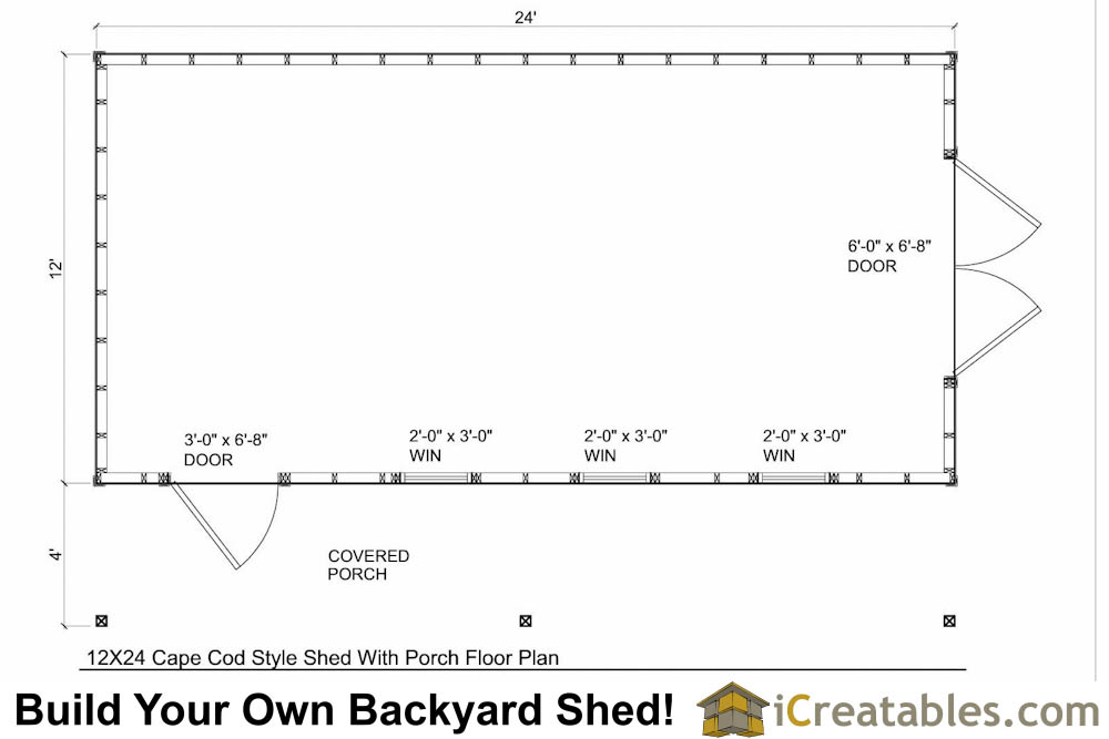 12x24 cape cod shed with porch plans icreatables for Simple cape cod floor plans