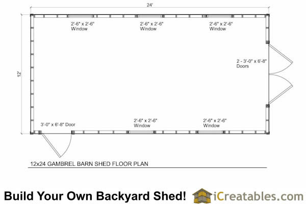 12x24 gambrel shed plans 10x10 barn shed plans for Gambrel barn house floor plans