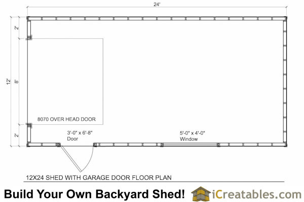 12x24 garage shed plans for Garage door plans free