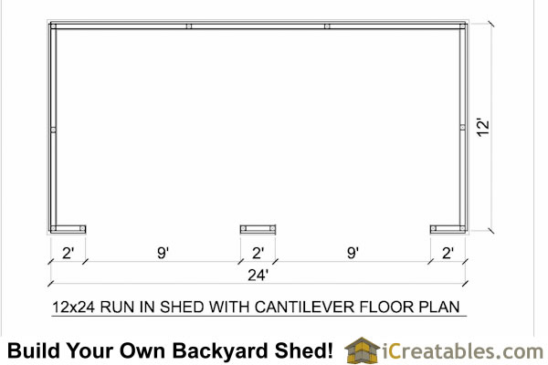 12x24 run in shed floor plan