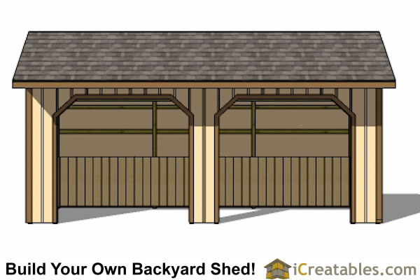 12x24 Run In Shed Front Elevation
