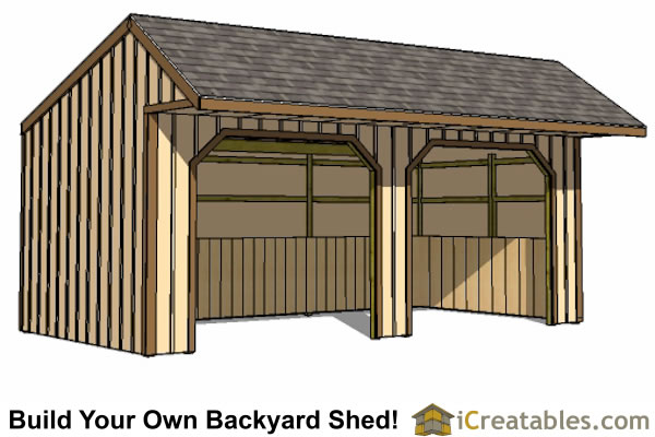 12x24 Run In Shed Plans With Cantilever Roof – 12X24 Garage Plans