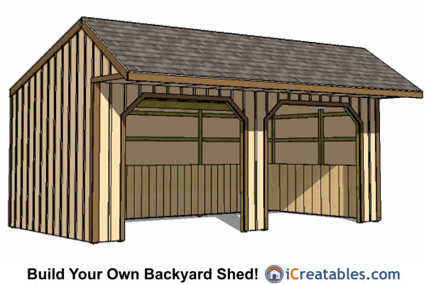 12x24 Run In Shed With Cantilever