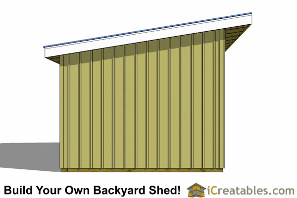 12x24 horse run in shed end elevation
