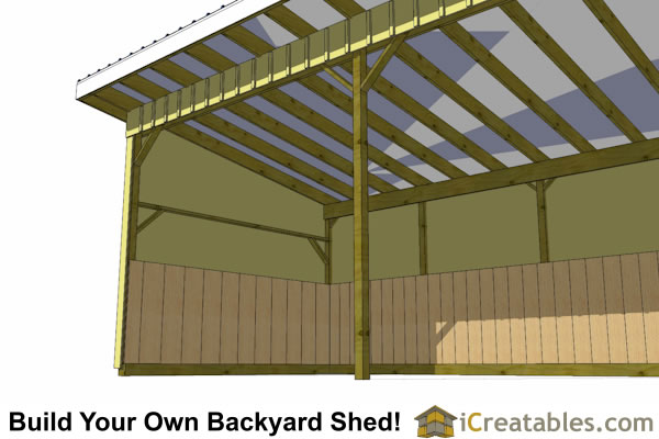 12x24 horse run in shed inside view