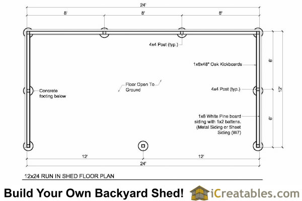 12x24 run in shed floor plans with lean to roof