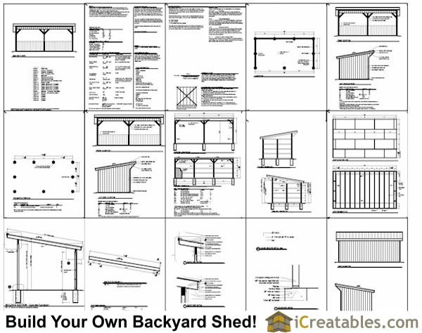 12x24 run in shed plans with lean to roof