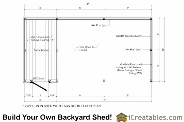 Sample Of Our 12x24 Run In She With Tack Room Plans: