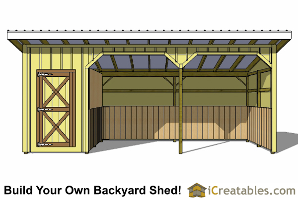 12x24 run in shed and tack room plans Horse run in shed plans design