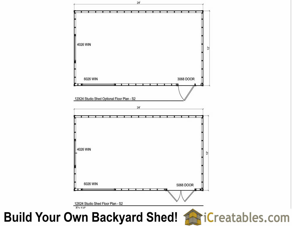 12x24 modern studio shed plans end door for Shed floor plans