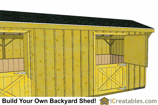 2 stall horse barn plans  with tack room elevation
