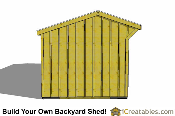 2 stall horse barn plans  with tack room end elevation