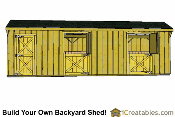 2 stall horse barn plans  with tack room front elevation