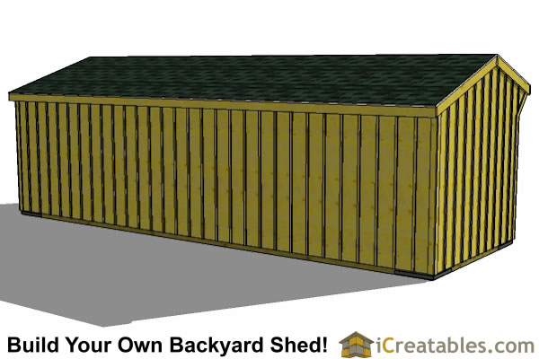 2 stall horse barn plans  with tack room rear view