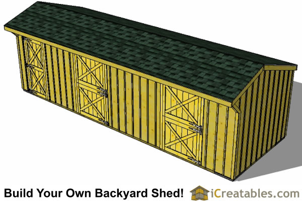 2 stall horse barn plans  with tack room top view