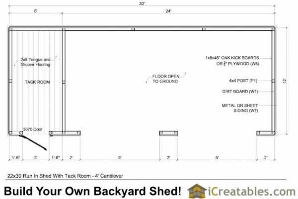 12x30 run in shed floor plan