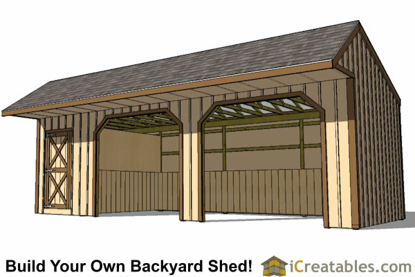12x30 run in shed plans with tack room and cantilever for Tack shed plans