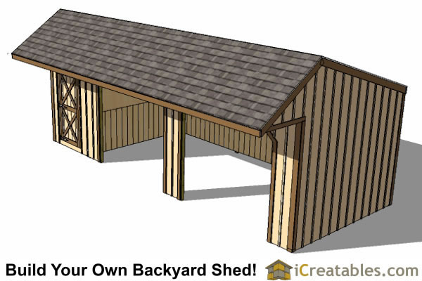 12x30 run in shed plans with tack room and cantilever Horse run in shed plans design
