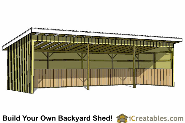 12x36 run in shed front elevation