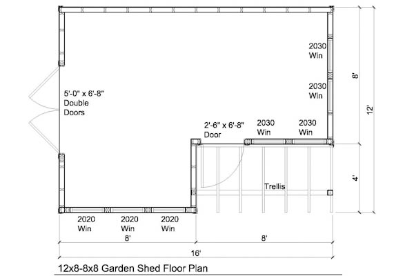 12x8 8x8 garden shed plans with trellis for 8x8 house plans
