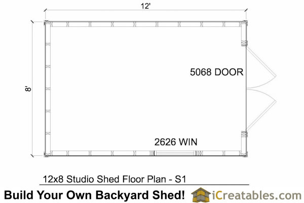 12x8 modern shed floor plans