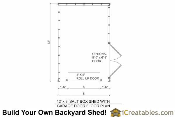 12x8 Salt Box Motorcycle Shed With Garage Door Floor Plans