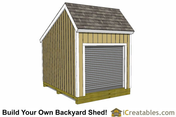 12x8 Salt Box Garage Door Shed Plans | Motorcycle Garage