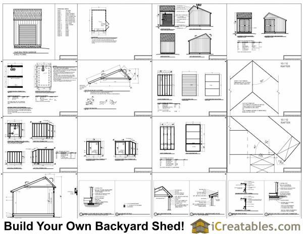 12x8 Salt Box Garage Door Shed Plans – Motorcycle Garage Plans