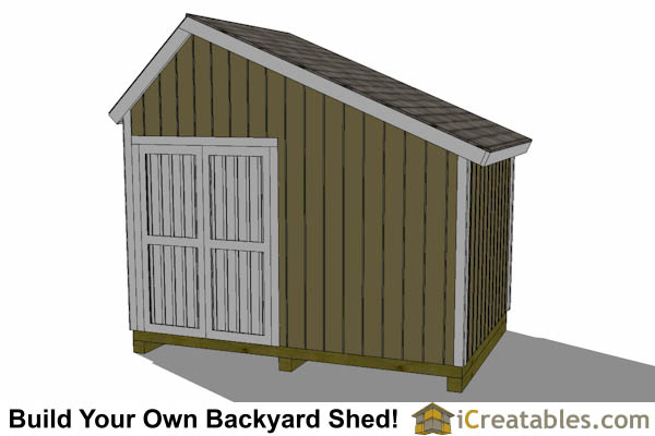 12x8 Salt Box Garage Door Shed Plans – Saltbox Garage Plans