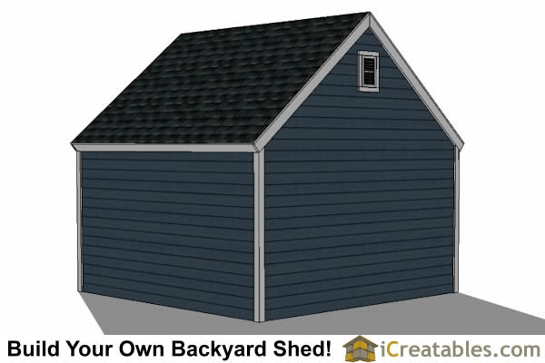 14x14 shed plans with garage door right elevation