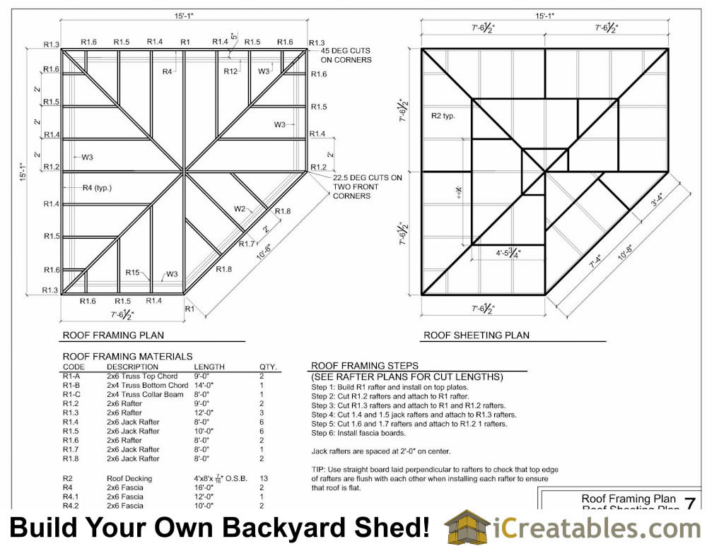 5 sided corner shed roof framing plans.