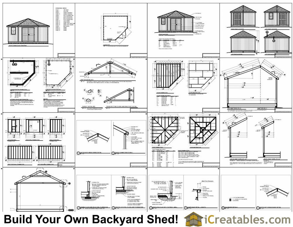 14x14 5 sided corner shed plans for Side by side plans