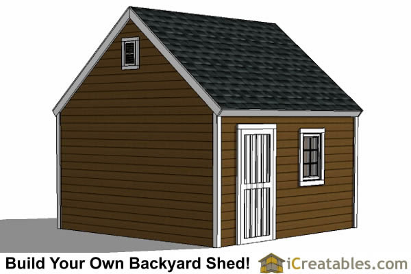 14x14 garage plan right side view