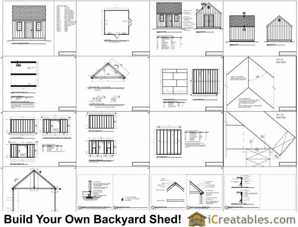 14x14 Colonial Steep Roof Shed Plans Icreatables Com
