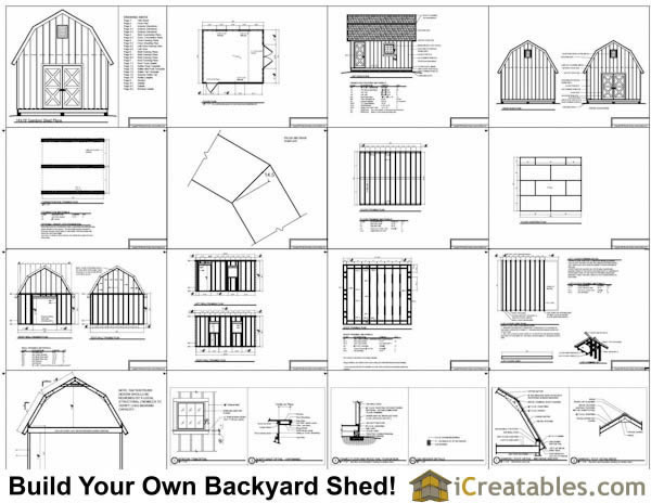 14x16 gambrel shed plans 14x16 barn shed plans for Gambrel shed plans with loft