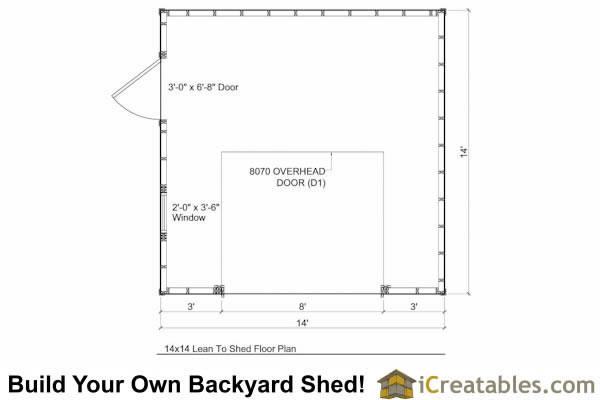 14x14 lean to shed floor plan