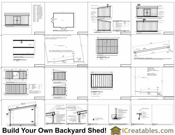 14x14 lean to shed plans example