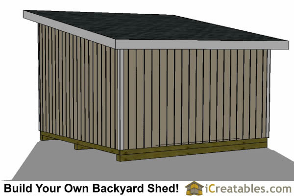 14x14 lean to shed left rear view