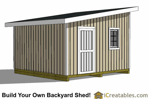 14x14 lean to shed tall wall door view