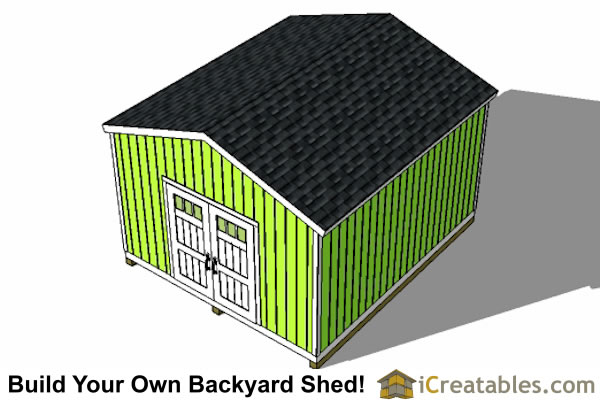 14x16 gable shed plans top view