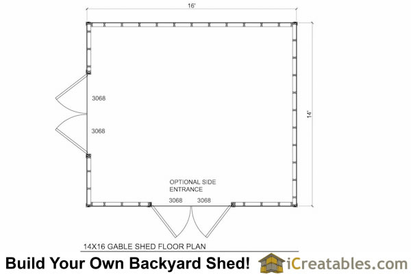 14x16 Shed Floor Plans