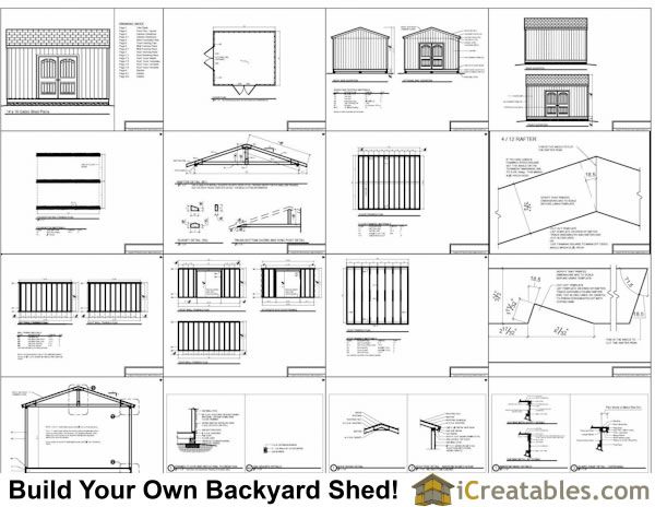 14x16 Gable Shed Plans Include The Following:
