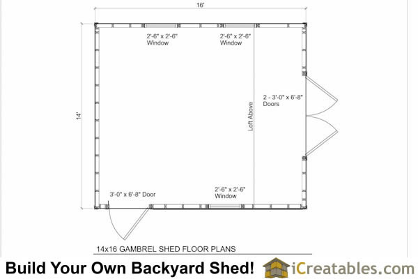 14x16 gambrel shed floor plans