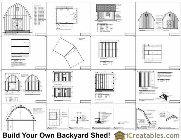 14x16 gambrel shed plans 14x16 barn shed plans for Free gambrel shed plans with loft